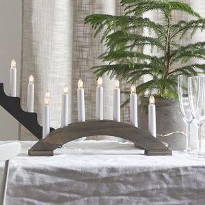 Lichterbogen Bea - 7flammig - warmweiße Birnchen - L: 39cm, H: 22cm - Schalter - braun