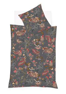 Fleuresse Mako-Satin Bettwäsche 135x200 Leopard Blüten Blätter grey 114132-1