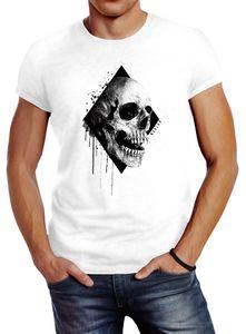 Herren T-Shirt Skull Totenkopf Schädel Slim Fit Neverless® weiß XL