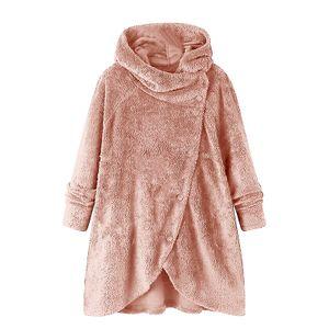 Damen Pullover Sweatshirt warme flauschige Wolle Hoodie,Farbe: Pink,Größe:S