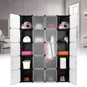 BESTSELLER!!! JEOBEST Kleiderschrank DIY - 20-Cube Kleiderschrank  Wardrobe Rack Steckregal Garderobe Badregal 183x37x147cm