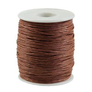 90m gewachste Baumwollschnur 1mm Wachsschnur Schmuckkordel Schnur, Farbwahl, Farbe:schokobraun