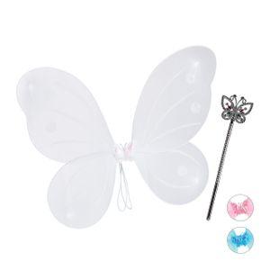 relaxdays 1 x Feenflügel weiß, Elfenkostüm mit Zauberstab, Fee Kostüm, Flügel, Zepter