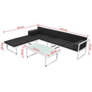 yocmall 4-tlg. Garten-Lounge-Set mit Auflagen Aluminium Schwarz