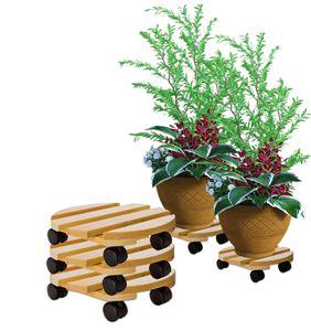 3x Pflanzenroller rund Buchenholz massives Holz 30 cm bis 120 Kg Rolluntersetzer