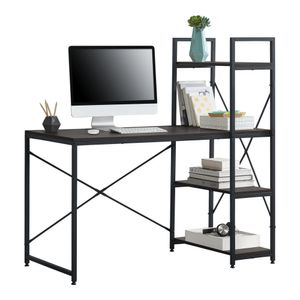 [en.casa] Schreibtisch Stavanger mit Regal Bürotisch 122x120x64 cm Computertisch mit Metallgestell Arbeitstisch mit Ablagefläche PC Tisch Schwarz-Walnuss-Optik