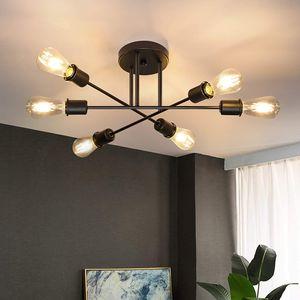 ZMH Deckenlampe Vintage Deckenleuchte 6 Flammig Wohnzimmerlampe E27 Kronleuchter Schwarz Schlafzimmerlampe (ohne Leuchtmittel)