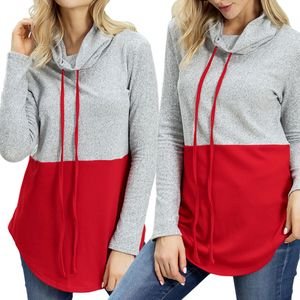 Damen Pullover Casua Rollkragen Pulli Langarm Colorblock Kordelzug wie beschrieben Rot L Pullover oben