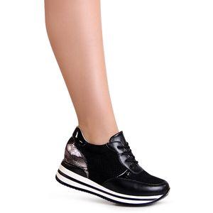 topschuhe24 1902 Damen Keilabsatz Sneaker Halbschuhe, Farbe:Schwarz, Größe:36 EU
