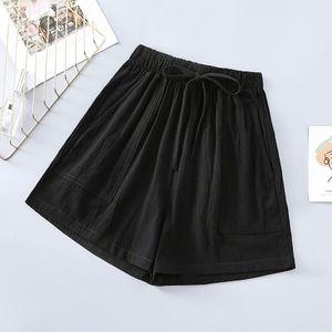 Damen Baumwoll Leinen Shorts lose hohe Taille lässig weit geschnittene Hosen Hotpants Größe:L,Farbe:Schwarz