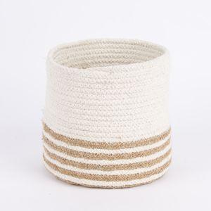 Aufbewahrungskorb geflochten Baumwolle Jute weiß natur verschiedene Größen, Auswahl:Klein
