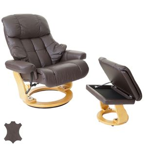 MCA Relaxsessel Windsor XXL, TV-Sessel Hocker, Echtleder 180kg belastbar  braun, naturbraun