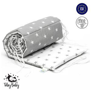 Bettumrandung Babybett Nestchen Umrandungen Babynest Kopfschutz für Baby Gitterbett 420 cm weiß-grau doppelseitig
