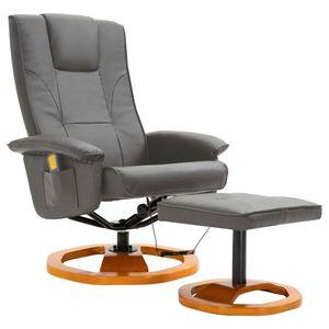 vidaXL Elektrischer Massagesessel mit Fußhocker Grau Kunstleder