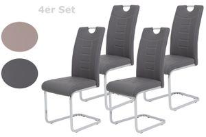 4er Set Esszimmerstuhl Ruby - Kunstleder Grau - Metallgestell verchromt - Bügelgriff - höhere Belastbarkeit von 140kg
