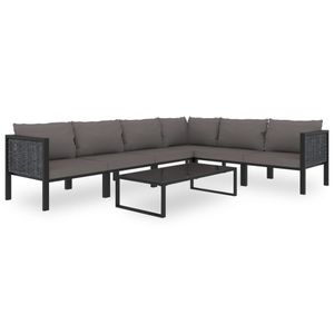 Gartenmöbel 7-TLG. Garten-Lounge-Set mit Auflagen Poly Rattan Anthrazit Lounge Sofa Garten Garnitur Sitzgruppe Sitzgarnitur Gartenset Gartensofa☆4299
