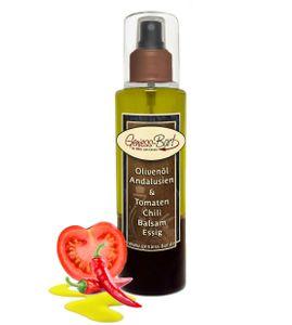 Sprühflasche Salatdressing 0,26L Olivenöl Vizcantar & Tomaten Chili Balsam Essig in  Pumpspray Vinaigrette für unterwegs / Büro / Camping