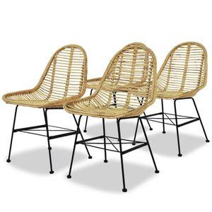 Esszimmerstühle 4 Stk. Natur Rattan