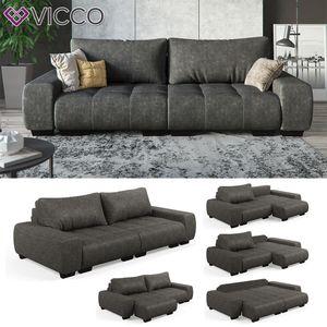 Vicco Sofa mit Schlaffunktion - Anthrazit Couch Schlafsofa Schaumstoff Taschenfederkern Grau