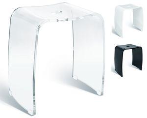 Badhocker MERAN aus Acryl glänzend, für die Dusche geeignet, mit Griff, zeitloses Design, rutschsicher mit Gummifüßen
