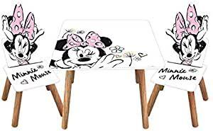 3tlg. Minnie Maus Holz-Kindersitzgruppe Tisch + 2X Stuhl Sitzgruppe im Retro-Stil Kindertisch Maltisch Minnie Mouse