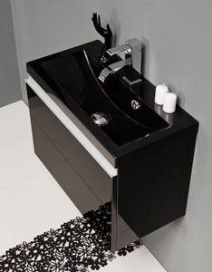 Quentis Badmöbel Faros, Breite 60 cm, schwarz glänzend, Waschbecken schwarz