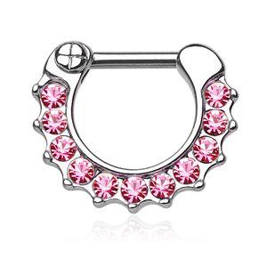 Nasenpiercing Septum Ring Clicker Nasenring Klapp Piercing Nase Zirkonia Kristall Chirurgenstahl silber-rosa