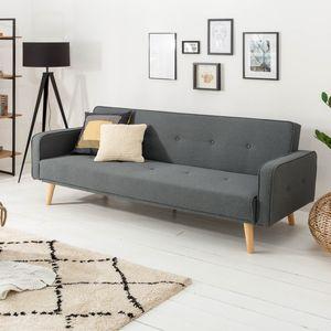 Design Schlafsofa SCANDINAVIA 210cm anthrazit 3er Sofa mit Bettfunktion und Nosagfederung Schlafcouch 3-Sitzer