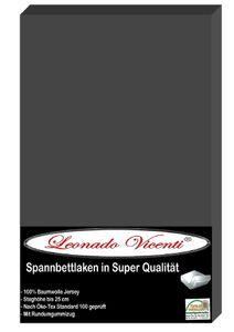 Spannbettlaken 180-200x200 cm Baumwolle Jersey Anthrazit