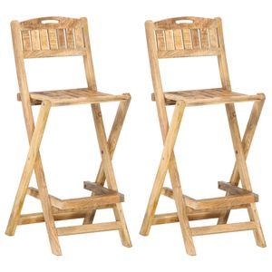 vidaXL Klappbare Garten-Barstühle 2 Stk. Massivholz Mango