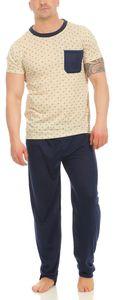 Herren Sommer Pyjama Lange Schlafhose und T-shirt, Beige L