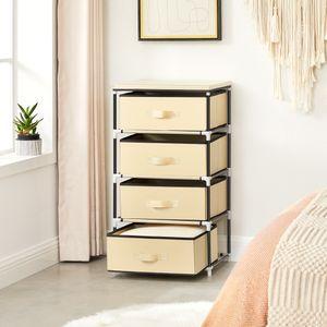 SONGMICS Beige Schubladenschrank mit 4 Schubladen | Stoffschrank 45 x 84,5 x 38 cm | Garderoben Aufbewahrung Campingschrank RLG14M