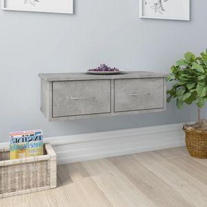 Eleganter- Wand-Schubladenregal für Wohnzimmer Hängeregal Bücherregal Design Regal für Bücher/DVD Betongrau 60x26x18,5 cm Spanplatte☀️9044