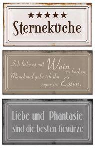 Blech-Schilder 3er Set je 18,5 x 9 cm Sterneküche Metall Schild Wanddekoration