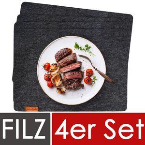 Filz Platzset Anthrazit - Edles Deko Tischset aus Filz abwischbar 44x32cm - abwaschbare Platzdeckchen für Esstisch - Tischunterlage Schwarz - Dunkelgraue Tischdecken 4er Set