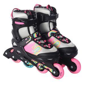 Inliner Skate Soft-Boot Kinder Jugend Größenverstellung 5 Größen verstellbar Mädchen Damen silbergrau pink, Größe:33-37
