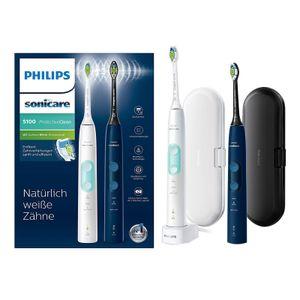 Philips HX 6851/34 Protective Clean 5100 Zahnbürste weiß-mint & navy-blau, Farbe:Weiß-Mint