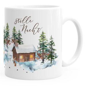 Tasse Stille Nacht Weihnachten Winter Schnee Silent Night Christmas Weihnachts-Tase Kaffeetasse Teetasse Keramiktasse Autiga® weiß unisize