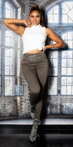 Basic Coloured Skinny High Waist Jeans, Farbe: Khaki, Größe: 42