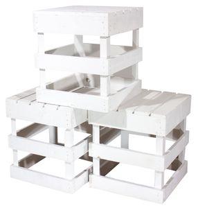 1x HOLZSCHEMEL WEIß, eckiges Design / 42x42x45 cm / zum sitzen oder als Beistelltisch nutzbar
