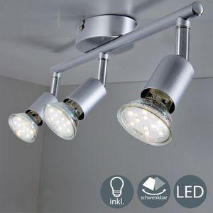 LED Deckenstrahler schwenkbar Deckenleuchte inkl. 3W GU10 LED Leuchtmittel 250 Lumen 3-flammig Warmweiß 230V IP20 Silber Deckenspot B.K.Licht