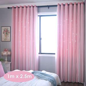 1 Paar Schattierungsfenstervorhang mit ausgehöhlten Sternen Doppelschichtgarn Drape Purdah, 1 * 2,5 m, Pink