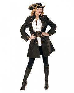 Schwarzer Piratenkapitän Mantel als Damenkostüm für Karneval & Halloween Größe: M