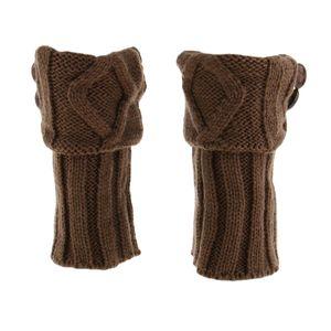 Damen Winter Gestrickte Beinstulpen  Manschetten Warmer  Kurze Socken Manschetten Farbe Kaffee