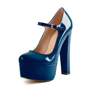 Only maker Damen Mary Jane High Heels Plateau Pumps Absatz Schuhe mit Hohem Blockabsatz Blau 44 EU