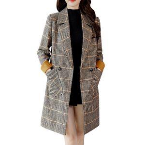 Damen Outwear Warmer Mantel Langer Kragen Slim Jacket Check Pattern Wollmantel Größe:XXL,Farbe:Ocker