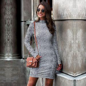 Mode Frauen Fruehling Print Kleid Leopardenmuster Schlangenhaut Print Stand Kragen Langarm Bodycon Nightclub Party Minikleid【Weiss-XL】