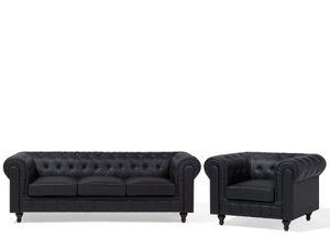 Sofa Set Schwarz Kunstleder Sitzgruppe Chesterfield Stil Glamourös Wohnzimmer