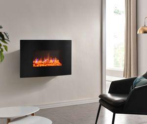 RICHEN Elektrokamin Enja Wandkamin Elektrischer Kamin (2000W, LED-Beleuchtung, 3-D Flammeneffekt, Fernbedienung) schwarz