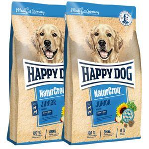 2 x 15 kg Happy Dog NaturCroq Junior